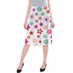 Colorful Floral Flowers Pattern Midi Beach Skirt