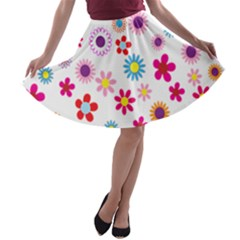 Colorful Floral Flowers Pattern A Line Skater Skirt