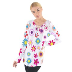 Colorful Floral Flowers Pattern Women s Tie Up Tee