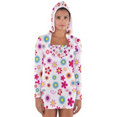 Colorful Floral Flowers Pattern Women s Long Sleeve Hooded T-shirt