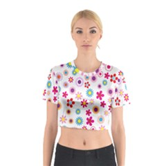 Colorful Floral Flowers Pattern Cotton Crop Top