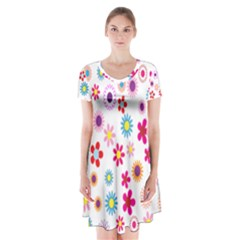 Colorful Floral Flowers Pattern Short Sleeve V-neck Flare Dress