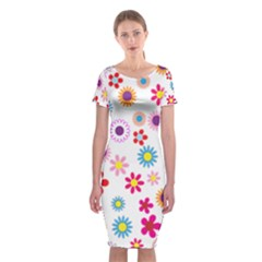 Colorful Floral Flowers Pattern Classic Short Sleeve Midi Dress