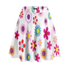 Colorful Floral Flowers Pattern High Waist Skirt