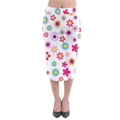 Colorful Floral Flowers Pattern Midi Pencil Skirt