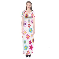 Colorful Floral Flowers Pattern Short Sleeve Maxi Dress