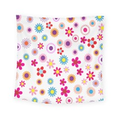 Colorful Floral Flowers Pattern Square Tapestry (small)