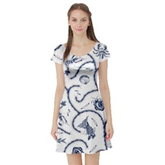 Fish Pattern Short Sleeve Skater Dress