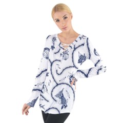 Fish Pattern Women s Tie Up Tee