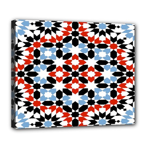 Morrocan Fez Pattern Arabic Geometrical Deluxe Canvas 24  x 20