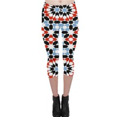 Morrocan Fez Pattern Arabic Geometrical Capri Leggings