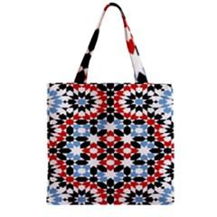 Morrocan Fez Pattern Arabic Geometrical Zipper Grocery Tote Bag