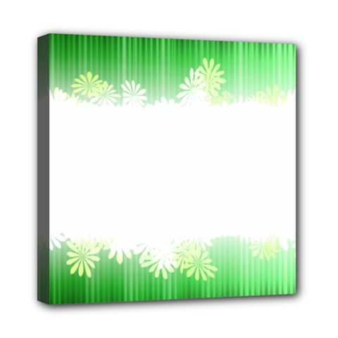 Green Floral Stripe Background Mini Canvas 8  X 8