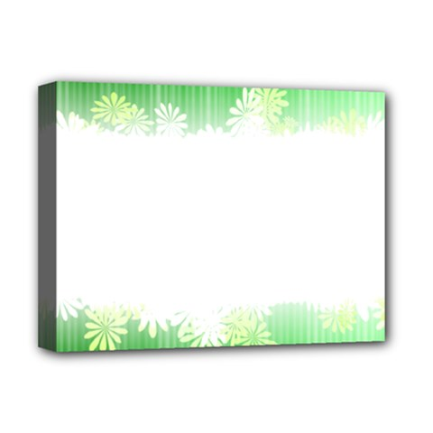 Green Floral Stripe Background Deluxe Canvas 16  x 12
