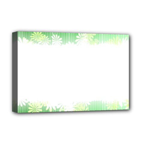 Green Floral Stripe Background Deluxe Canvas 18  x 12
