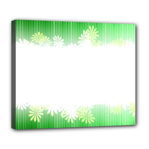 Green Floral Stripe Background Deluxe Canvas 24  x 20