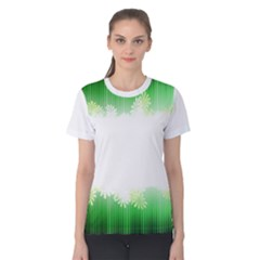 Green Floral Stripe Background Women s Cotton Tee