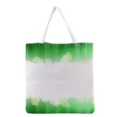 Green Floral Stripe Background Grocery Tote Bag