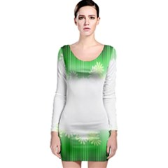 Green Floral Stripe Background Long Sleeve Bodycon Dress