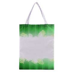 Green Floral Stripe Background Classic Tote Bag