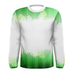 Green Floral Stripe Background Men s Long Sleeve Tee