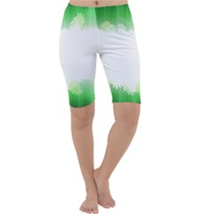 Green Floral Stripe Background Cropped Leggings