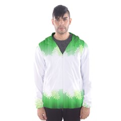 Green Floral Stripe Background Hooded Wind Breaker (Men)