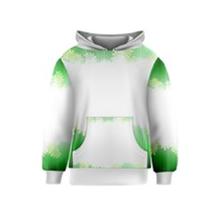 Green Floral Stripe Background Kids  Pullover Hoodie