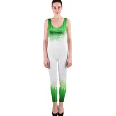 Green Floral Stripe Background OnePiece Catsuit