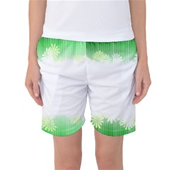 Green Floral Stripe Background Women s Basketball Shorts