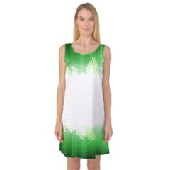 Green Floral Stripe Background Sleeveless Satin Nightdress