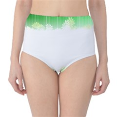 Green Floral Stripe Background High Waist Bikini Bottoms