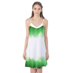 Green Floral Stripe Background Camis Nightgown