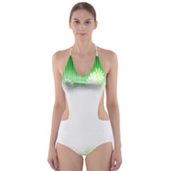 Green Floral Stripe Background Cut Out One Piece Swimsuit