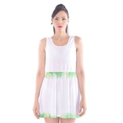 Green Floral Stripe Background Scoop Neck Skater Dress