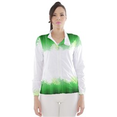 Green Floral Stripe Background Wind Breaker (women)