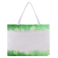 Green Floral Stripe Background Medium Zipper Tote Bag