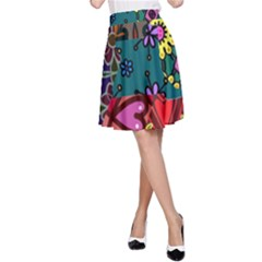 Patchwork Collage A-Line Skirt