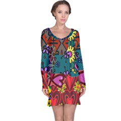Patchwork Collage Long Sleeve Nightdress