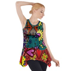 Patchwork Collage Side Drop Tank Tunic