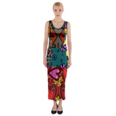 Patchwork Collage Fitted Maxi Dress
