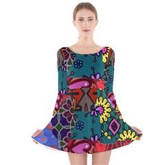 Patchwork Collage Long Sleeve Velvet Skater Dress
