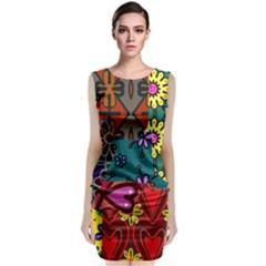 Patchwork Collage Classic Sleeveless Midi Dress