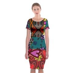 Patchwork Collage Classic Short Sleeve Midi Dress
