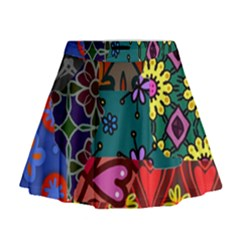 Patchwork Collage Mini Flare Skirt