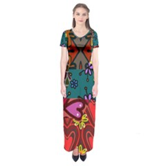 Patchwork Collage Short Sleeve Maxi Dress