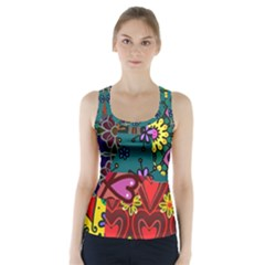 Patchwork Collage Racer Back Sports Top