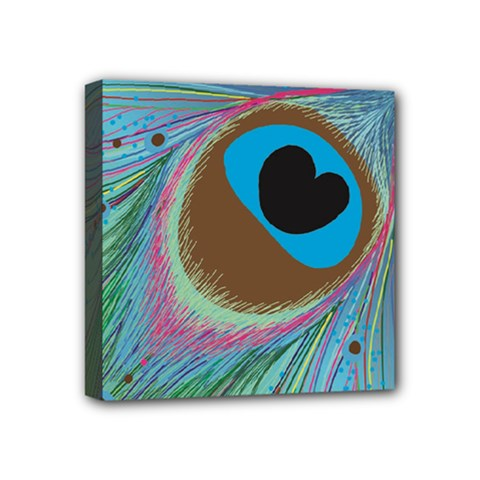 Peacock Feather Lines Background Mini Canvas 4  X 4