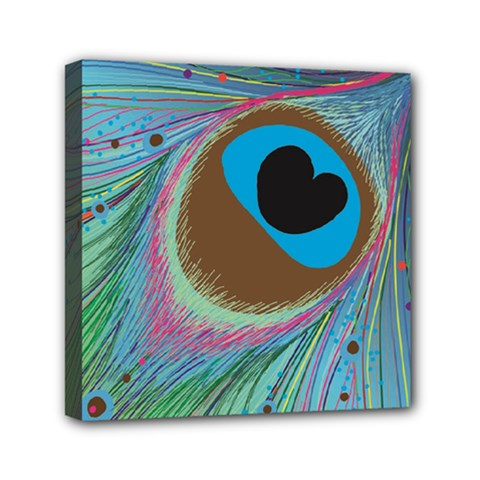 Peacock Feather Lines Background Mini Canvas 6  X 6