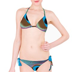 Peacock Feather Lines Background Bikini Set